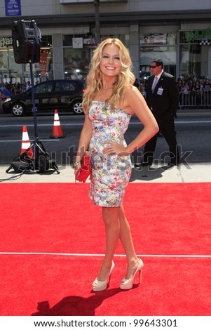 """LOS ANGELES - APRIL 7: Becki Newton arrives at """"The Three Stooges"""" Premiere at Graumans Chinese Theater on April 7, 2012 in Los Angeles, CA - stock photo"""
