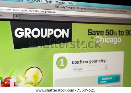 LOS ANGELES - APRIL 7: Homepage of Groupon.com, the largest and fast growing internet discount website, controversial for its recent TV campaign, on April 7, 2011 in Los Angeles California.