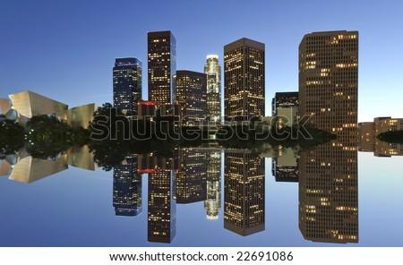 Los Angeles at night - stock photo