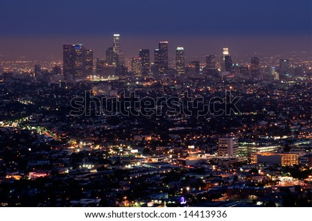 Los Angeles at night from Griffith observatory - stock photo