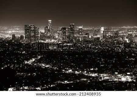 Los Angeles at night with urban buildings in BW - stock photo