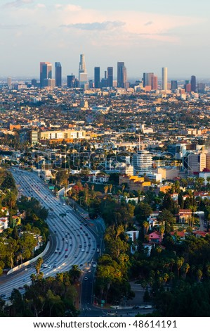 Los Angeles at sunset - stock photo