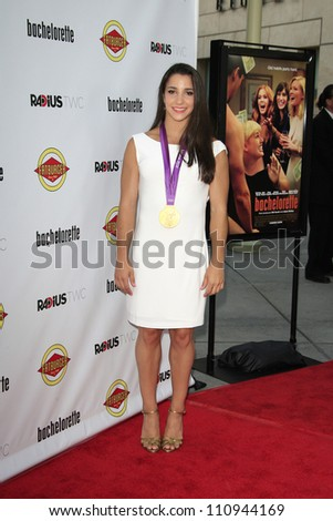LOS ANGELES - AUG 23: Aly Raisman at the premiere of RADiUS-TWC's 'Bachelorette' at ArcLight Cinemas on August 23, 2012 in Los Angeles, California - stock photo