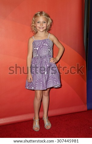 LOS ANGELES - AUG 13:  Alyvia Alyn Lind at the NBCUniversal 2015 TCA Summer Press Tour at the Beverly Hilton Hotel on August 13, 2015 in Beverly Hills, CA - stock photo