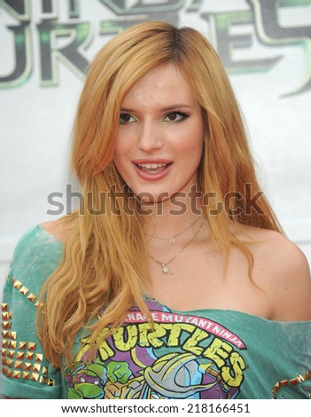 "LOS ANGELES - AUG 03:  Bella Thorne arrives to the ""Teenage Mutant Ninja Turtles"" Los Angeles Premiere  on August 3, 2014 in Westwood, CA.                 - stock photo"