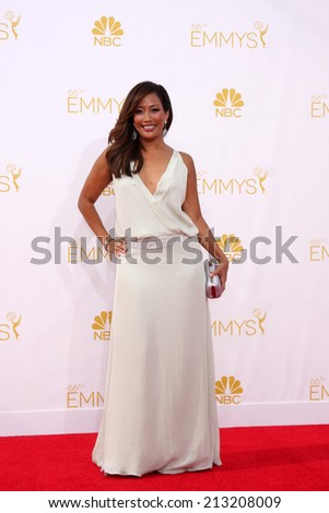 LOS ANGELES - AUG 25:  Carrie Ann Inaba at the 2014 Primetime Emmy Awards - Arrivals at Nokia Theater at LA Live on August 25, 2014 in Los Angeles, CA - stock photo