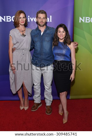 LOS ANGELES - AUG 12:  Daisy Betts, Mike Vogel & Yael Stone arrives to the arrives to the Summer 2015 TCA's - NBCUniversal  on August 12, 2015 in Beverly Hills, CA                 - stock photo