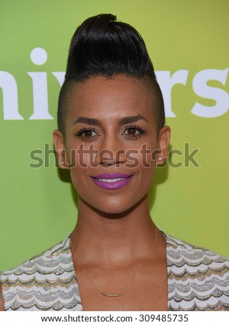 LOS ANGELES - AUG 12:  Dominique Tipper arrives to the arrives to the Summer 2015 TCA's - NBCUniversal  on August 12, 2015 in Beverly Hills, CA                 - stock photo