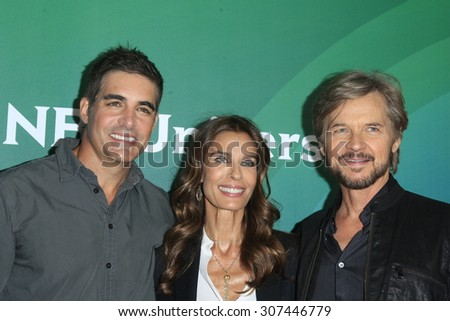 LOS ANGELES - AUG 13:  Galen Gering, Kristian Alfonso, Stephen Nichols at the NBCUniversal 2015 TCA Summer Press Tour at the Beverly Hilton Hotel on August 13, 2015 in Beverly Hills, CA - stock photo
