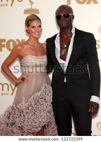 LOS ANGELES - AUG 11:  HEIDI KLUM & SEAL arriving to Emmy Awards 2011  on August 11, 2012 in Los Angeles, CA - stock photo