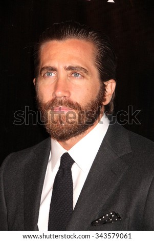 LOS ANGELES - AUG 13:  Jake Gyllenhaal at the HFPA Hosts Annual Grants Banquet - Arrivals at the Beverly Wilshire Hotel on August 13, 2015 in Beverly Hills, CA - stock photo