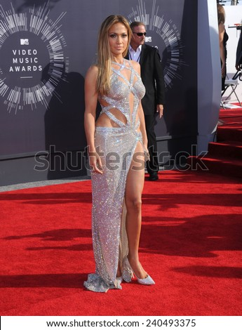 LOS ANGELES - AUG 24:  Jennifer Lopez arrives to the 2014 Mtv Vidoe Music Awards on August 24, 2014 in Los Angeles, CA                 - stock photo