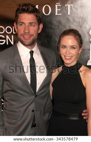 LOS ANGELES - AUG 13:  John Krasinski, Emily Blunt at the HFPA Hosts Annual Grants Banquet - Arrivals at the Beverly Wilshire Hotel on August 13, 2015 in Beverly Hills, CA - stock photo