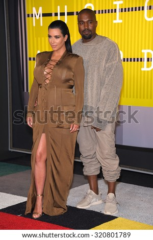LOS ANGELES - AUG 30:  Kanye West & Kim Kardashian 2015 MTV Video Music Awards - Arrivals  on August 30, 2015 in Hollywood, CA                 - stock photo