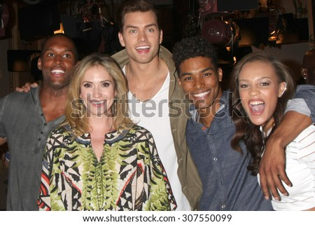 LOS ANGELES - AUG 14:  Lawrence Saint-Victor, Ashley Jones, Pierson Fode, Rome Flynn, Reign Edwards at the Bold and Beautiful Fan Event at CBS Television City on August 14, 2015 in Los Angeles, CA - stock photo