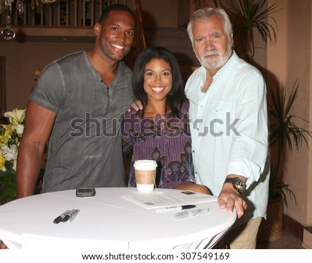 LOS ANGELES - AUG 14:  Lawrence Saint-Victor, Karla Mosley, John McCook at the Bold and Beautiful Fan Event Friday at the CBS Television City on August 14, 2015 in Los Angeles, CA - stock photo