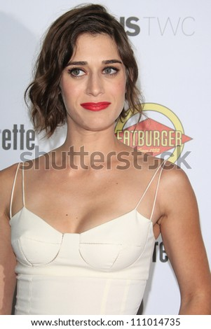LOS ANGELES - AUG 23: Lizzy Caplan at the premiere of RADiUS-TWC's 'Bachelorette' at ArcLight Cinemas on August 23, 2012 in Los Angeles, California - stock photo