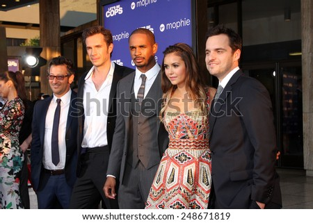 "LOS ANGELES - AUG 7:  Luke Greenfield, James D'Arcy, Damon Wayans Jr, Nina Dobrev, Jake Johnson at the ""Let's Be Cops"" Premiere at the ArcLight Hollywood Theaters on August 7, 2014 in Los Angeles, CA  - stock photo"
