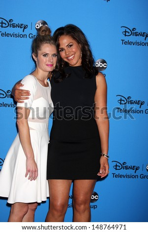 LOS ANGELES - AUG 4:  Maggie Lawson, Jenora Crichlow arrives at the ABC Summer 2013 TCA Party at the Beverly Hilton Hotel on August 4, 2013 in Beverly Hills, CA - stock photo