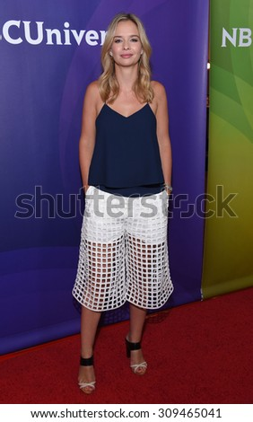 LOS ANGELES - AUG 12:  Marissa Hermer arrives to the arrives to the Summer 2015 TCA's - NBCUniversal  on August 12, 2015 in Beverly Hills, CA                 - stock photo