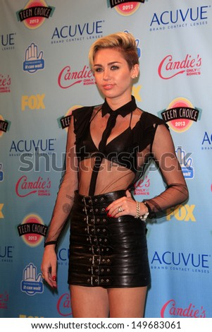 LOS ANGELES - AUG 11:  Miley Cyrus in the 2013 Teen Choice Awards Press Room at the Gibson Ampitheater Universal on August 11, 2013 in Los Angeles, CA - stock photo