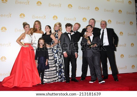 LOS ANGELES - AUG 25:  Modern Family Cast at the 2014 Primetime Emmy Awards - Press Room at Nokia Theater at LA Live on August 25, 2014 in Los Angeles, CA - stock photo