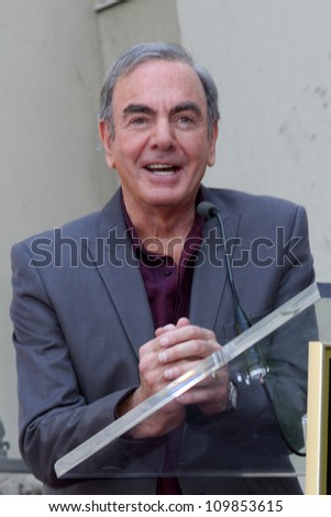 LOS ANGELES - AUG 10:  Neil Diamond at a ceremony bestowing a Star on the Hollywood Walk of Fame to Neil Diamond at Capital Records Building on August 10, 2012 in Los Angeles, CA