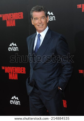 "LOS ANGELES - AUG 13:  Pierce Brosnan arrives to the ""The November Man"" World Premiere  on August 13, 2014 in Hollywood, CA.                 - stock photo"