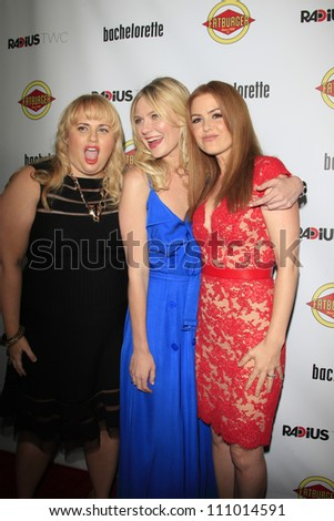 LOS ANGELES - AUG 23: Rebel Wilson, Kirsten Dunst, Isla Fisher at the premiere of RADiUS-TWC's 'Bachelorette' at ArcLight Cinemas on August 23, 2012 in Los Angeles, California - stock photo