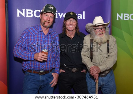 LOS ANGELES - AUG 12:  Rooster McConaughey, Butch Gilliam & Gil Prather arrives to the arrives to the Summer 2015 TCA's - NBCUniversal  on August 12, 2015 in Beverly Hills, CA                 - stock photo