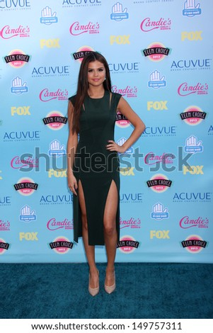 LOS ANGELES - AUG 11:  Selena Gomez at the 2013 Teen Choice Awards at the Gibson Ampitheater Universal on August 11, 2013 in Los Angeles, CA - stock photo