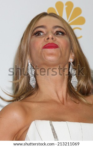LOS ANGELES - AUG 25:  Sofia Vergara at the 2014 Primetime Emmy Awards - Press Room at Nokia Theater at LA Live on August 25, 2014 in Los Angeles, CA - stock photo