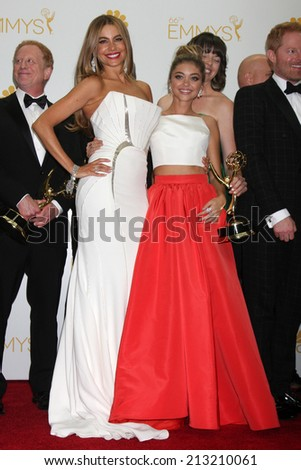LOS ANGELES - AUG 25:  Sofia Vergara, Sarah Hyland at the 2014 Primetime Emmy Awards - Press Room at Nokia Theater at LA Live on August 25, 2014 in Los Angeles, CA - stock photo