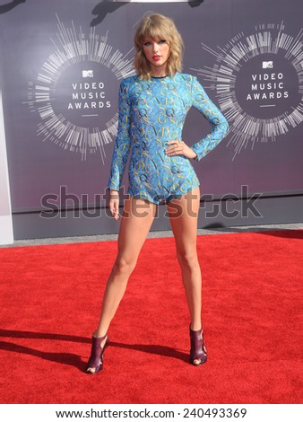 LOS ANGELES - AUG 24:  Taylor Swift arrives to the 2014 Mtv Vidoe Music Awards on August 24, 2014 in Los Angeles, CA                 - stock photo