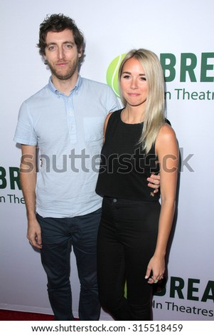 "LOS ANGELES - AUG 27:  Thomas Middleditch, Mollie Middleditch at the ""Break Point"" Special Screening at the TCL Chinese 6 Theaters on August 27, 2015 in Los Angeles, CA"