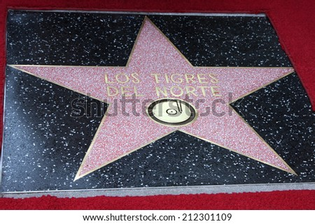 LOS ANGELES - AUG 21:  Walk of Fame Star for Los Tigres Del Norte at the Los Tigres Del Norte Honored On The Hollywood Walk Of Fame at Live Nation Building on August 21, 2014 in Los Angeles, CA - stock photo