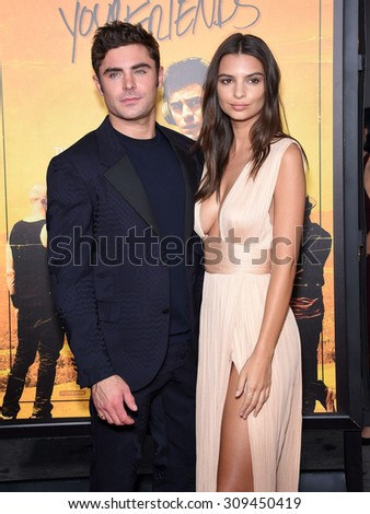 "LOS ANGELES - AUG 20:  Zac Efron & Emily Ratajkowski arrives to the ""We Are Your Friends"" Los Angeles Premiere  on August 20, 2015 in Hollywood, CA                 - stock photo"