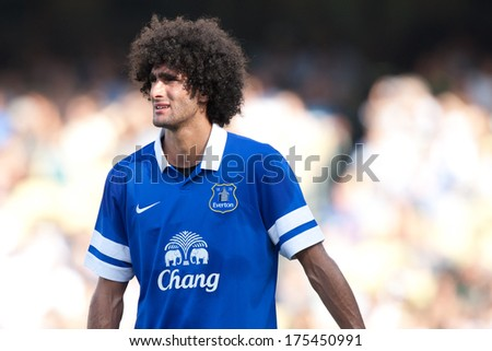 LOS ANGELES - AUGUST 3: Everton M Marouane Fellaini during the 2013 Guinness International Champions Cup game between Everton and Real Madrid on Aug 3, 2013 at Dodger Stadium. - stock photo