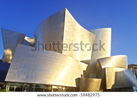 LOS ANGELES-AUGUST 21: Frank Gehry's iconic and distinctive modern architecture of the Disney Concert Hall gives the Los Angeles skyline it's readily identifiable characteristic. August 21, 2010. - stock photo