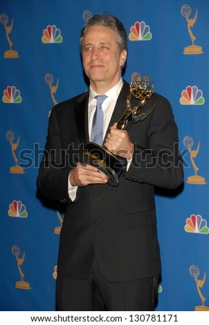LOS ANGELES - AUGUST 27: Jon Stewart in the Press Room at the 58th Annual Primetime Emmy Awards in The Shrine Auditorium August 27, 2006 in Los Angeles, CA. - stock photo