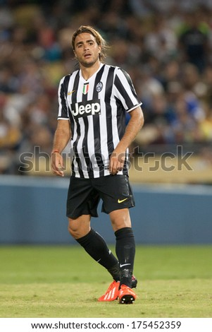 LOS ANGELES - AUGUST 3: Juventus F Alessandro Matri during the 2013 Guinness International Champions Cup game between Juventus and the Los Angeles Galaxy on Aug 3, 2013 at Dodger Stadium. - stock photo