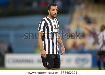 LOS ANGELES - AUGUST 3: Juventus F Fabio Quagliarella during the 2013 Guinness International Champions Cup game between Juventus and the Los Angeles Galaxy on Aug 3, 2013 at Dodger Stadium. - stock photo