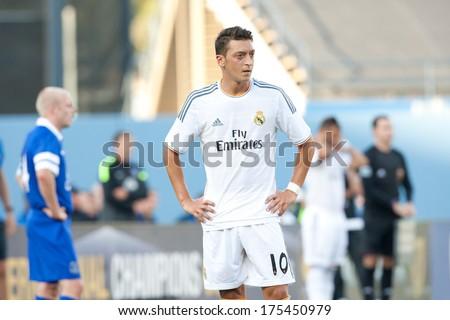 LOS ANGELES - AUGUST 3: Real Madrid M Mesut Ozil during the 2013 Guinness International Champions Cup game between Everton and Real Madrid on Aug 3, 2013 at Dodger Stadium. - stock photo