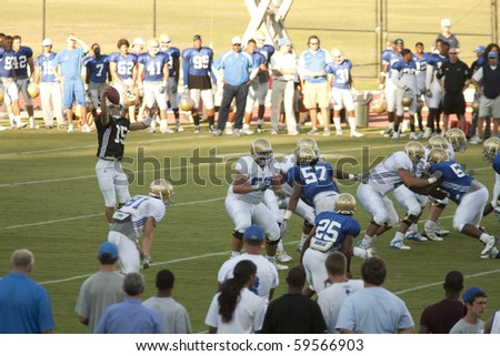 LOS ANGELES - AUGUST 21: UCLA Bruins scrimmage against each other on August 21, in Los Angeles.  Quarterback Justin Posthuma catches the snap. - stock photo