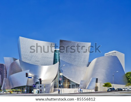LOS ANGELES - AUGUST 8: Walt Disney Concert Hall in downtown Los Angeles on August 8, 2011. The concert hall houses the Los Angeles Philharmonic Orchestra and is a design by architect Frank Gehry. - stock photo
