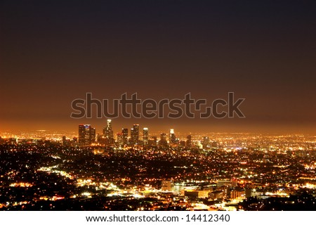 Los Angeles by night - stock photo