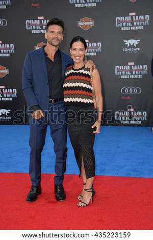 "LOS ANGELES, CA. April 12, 2016: Actor Frank Grillo & actress wife Wendy Moniz at the world premiere of ""Captain America: Civil War"" at the Dolby Theatre, Hollywood.