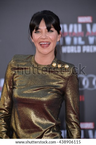 """LOS ANGELES, CA. April 12, 2016: Actress Jessica Szohr at the world premiere of """"Captain America: Civil War"""" at the Dolby Theatre, Hollywood. - stock photo"""
