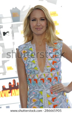 LOS ANGELES, CA - APRIL 12, 2015: Anna Camp at the 2015 MTV Movie Awards at the Nokia Theatre LA Live.
