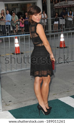 "LOS ANGELES, CA - APRIL 7, 2014: Briana Evigan at the Los Angeles premiere of ""Draft Day"" at the Regency Village Theatre, Westwood."